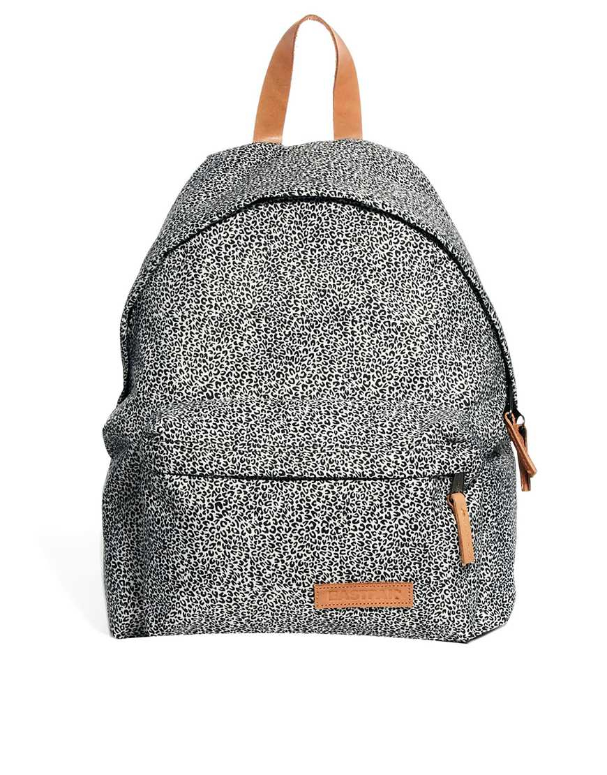 Eastpak Padded Pak R Leather Backpack In Black For Men: Eastpak Padded Pak'R Animal Print Backpack In Black For