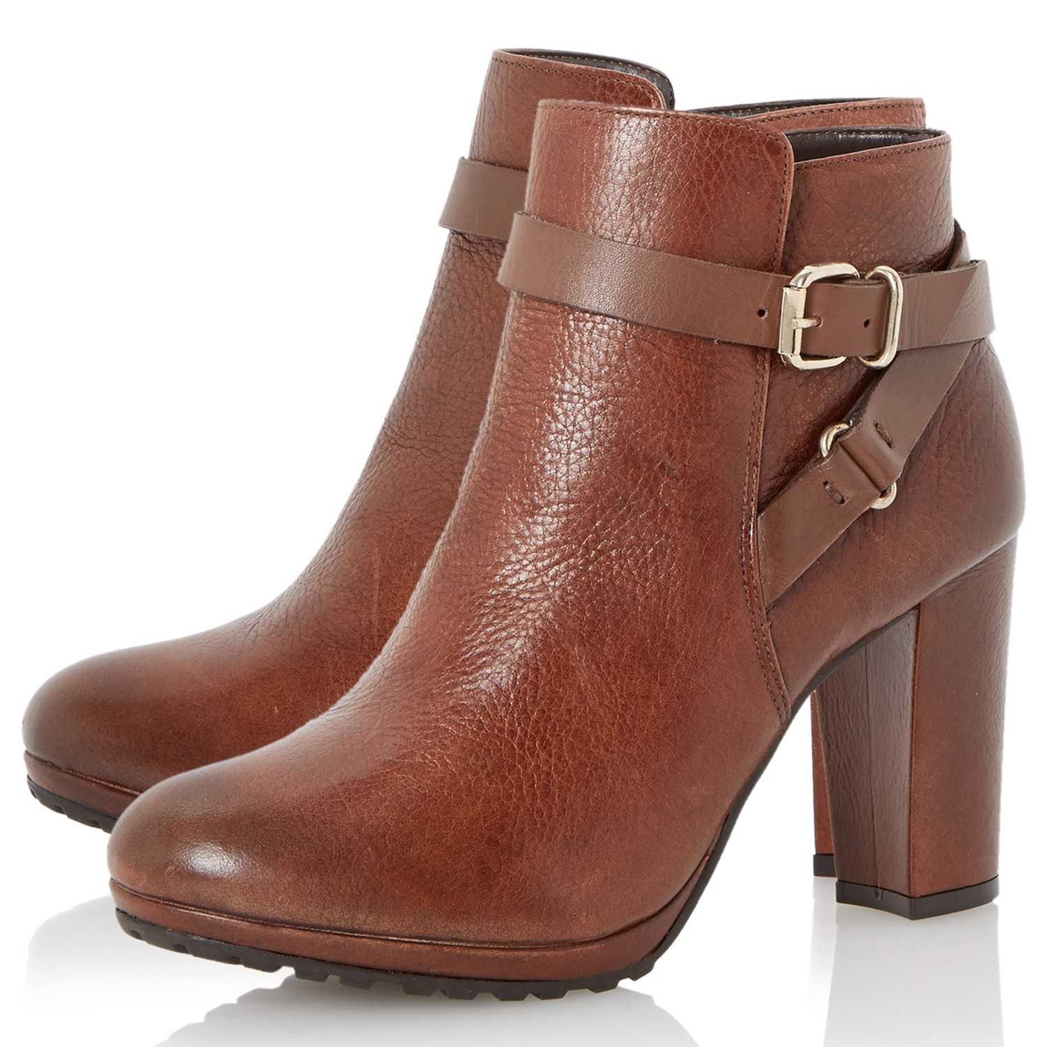 dune puggy block heeled ankle boots in brown lyst