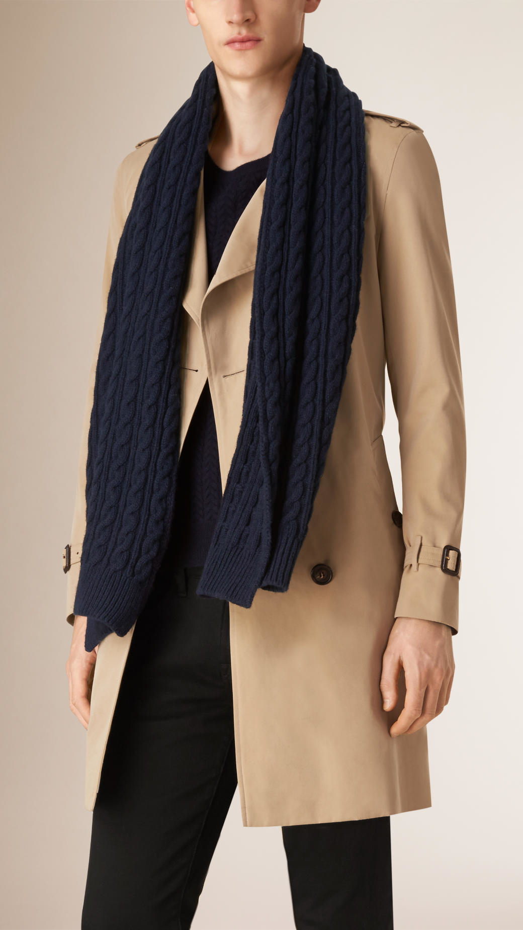 Knitting Pattern Burberry Scarf : Burberry Wool Cashmere Cable Knit Scarf Navy in Blue Lyst