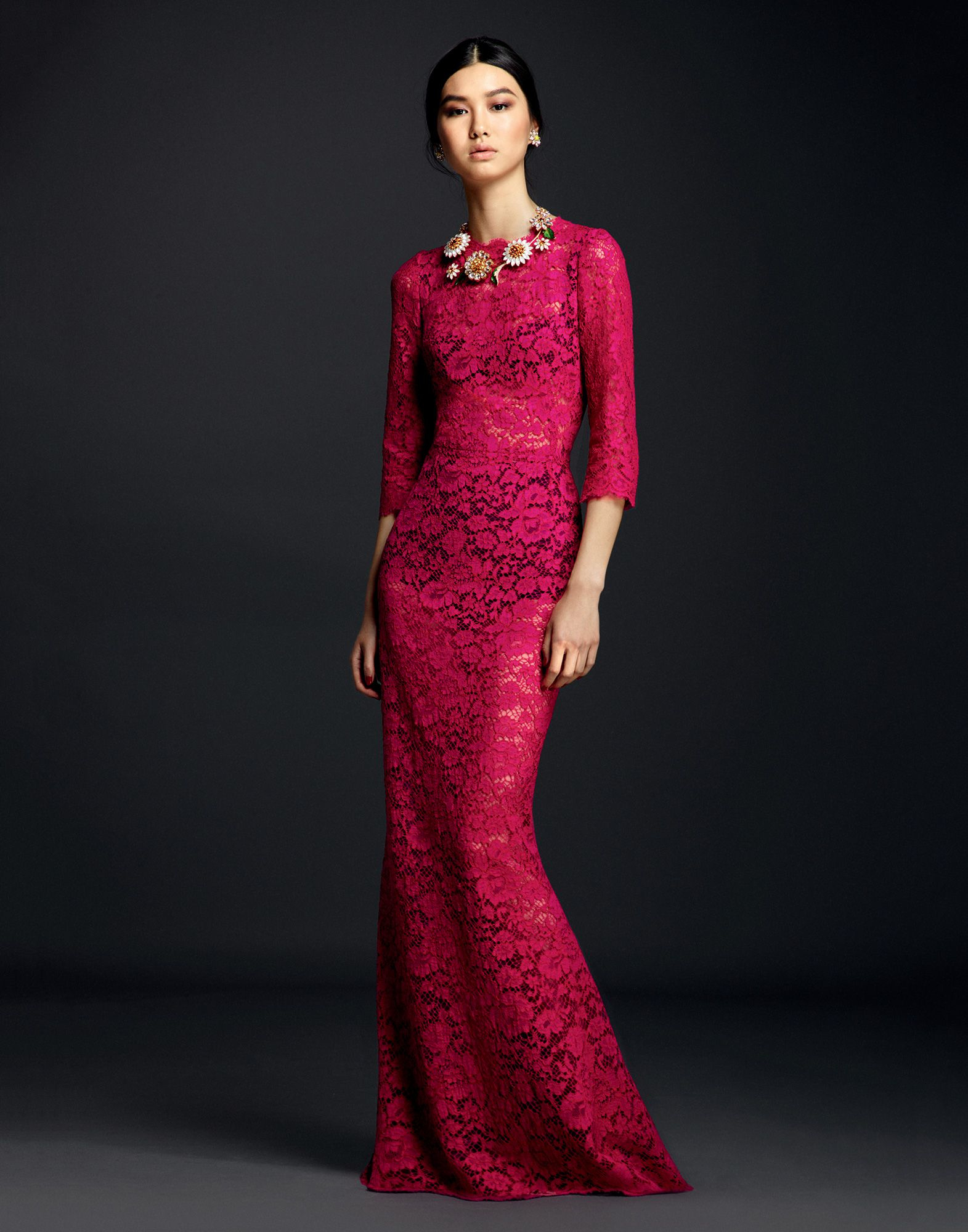 Lyst Dolce Gabbana Cordonette Lace Gown With Cut Out Back In Purple