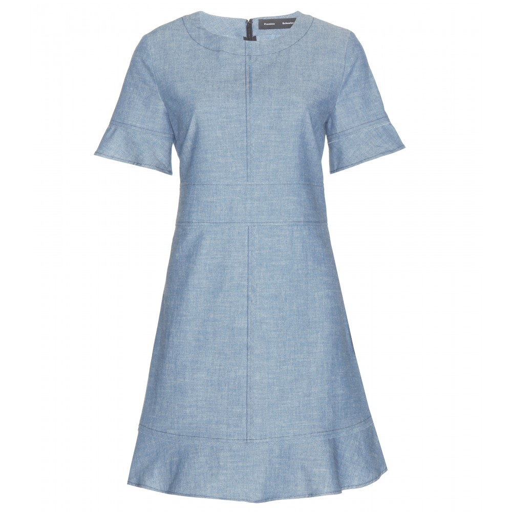 Proenza schouler chambray dress in blue chambray lyst for Chambray dress