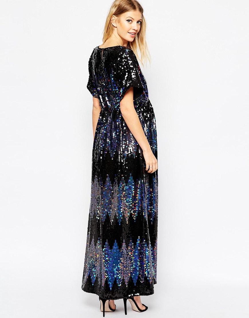 Asos Synthetic Maternity Sequin Kimono Maxi Dress In Black