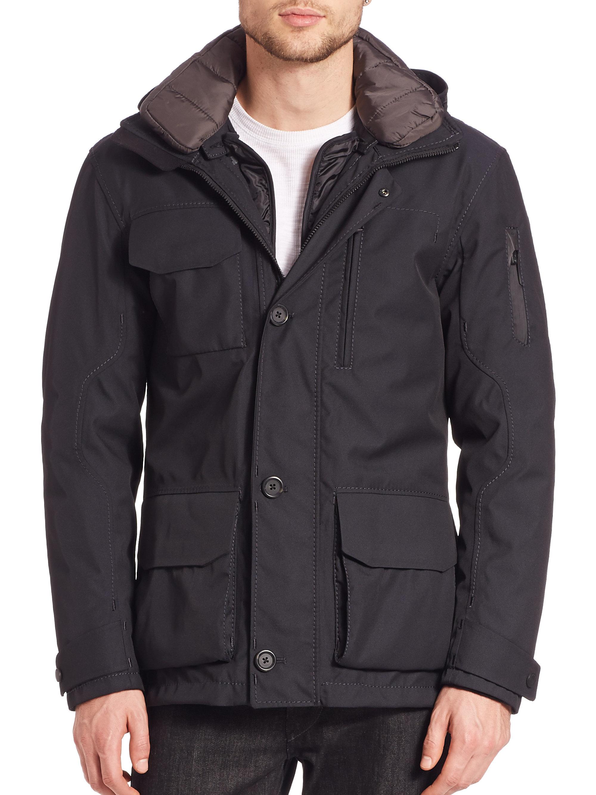 g lab commander mid length coat in black for men blue lyst. Black Bedroom Furniture Sets. Home Design Ideas
