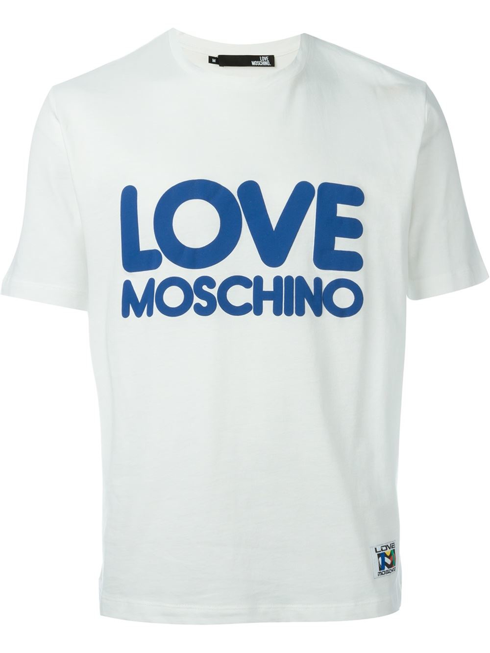 moschino love print t shirt in white for men lyst. Black Bedroom Furniture Sets. Home Design Ideas