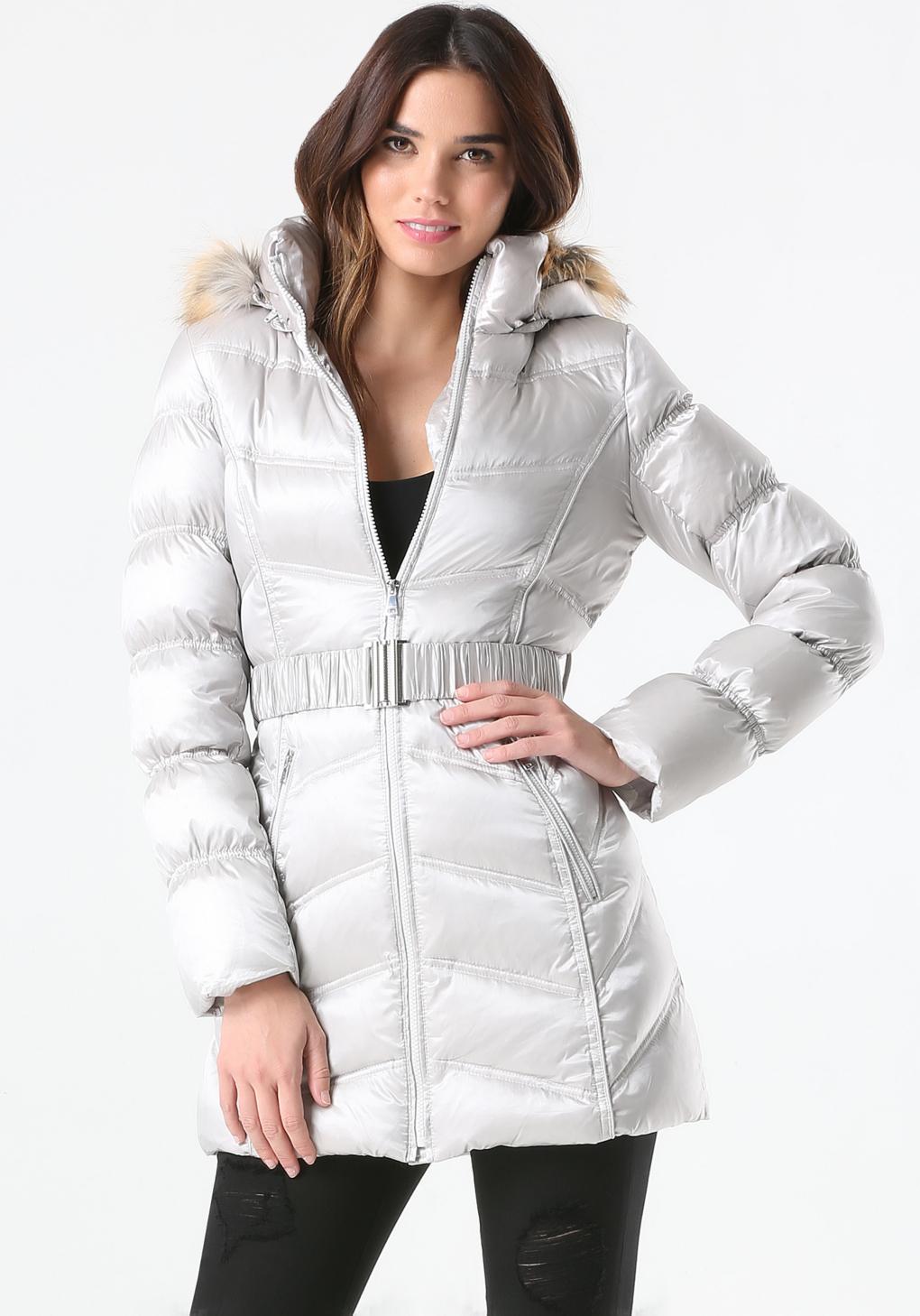 2ec09a66a Bebe Metallic Hooded Puffer Coat