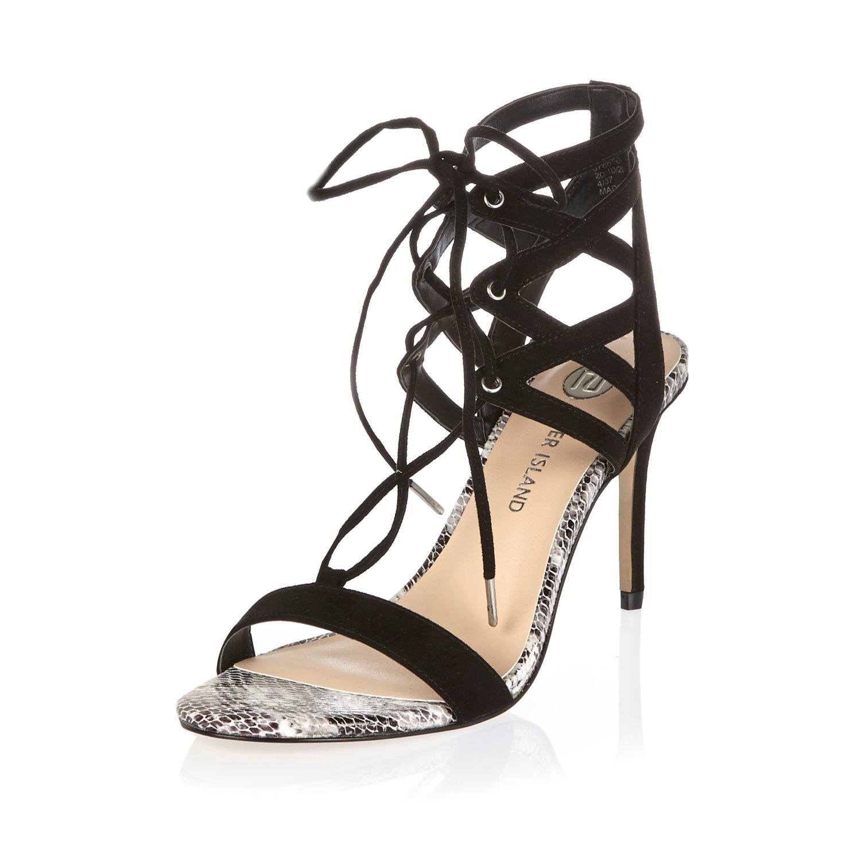 a5f97d6e08f River Island Black Caged Heel Sandals