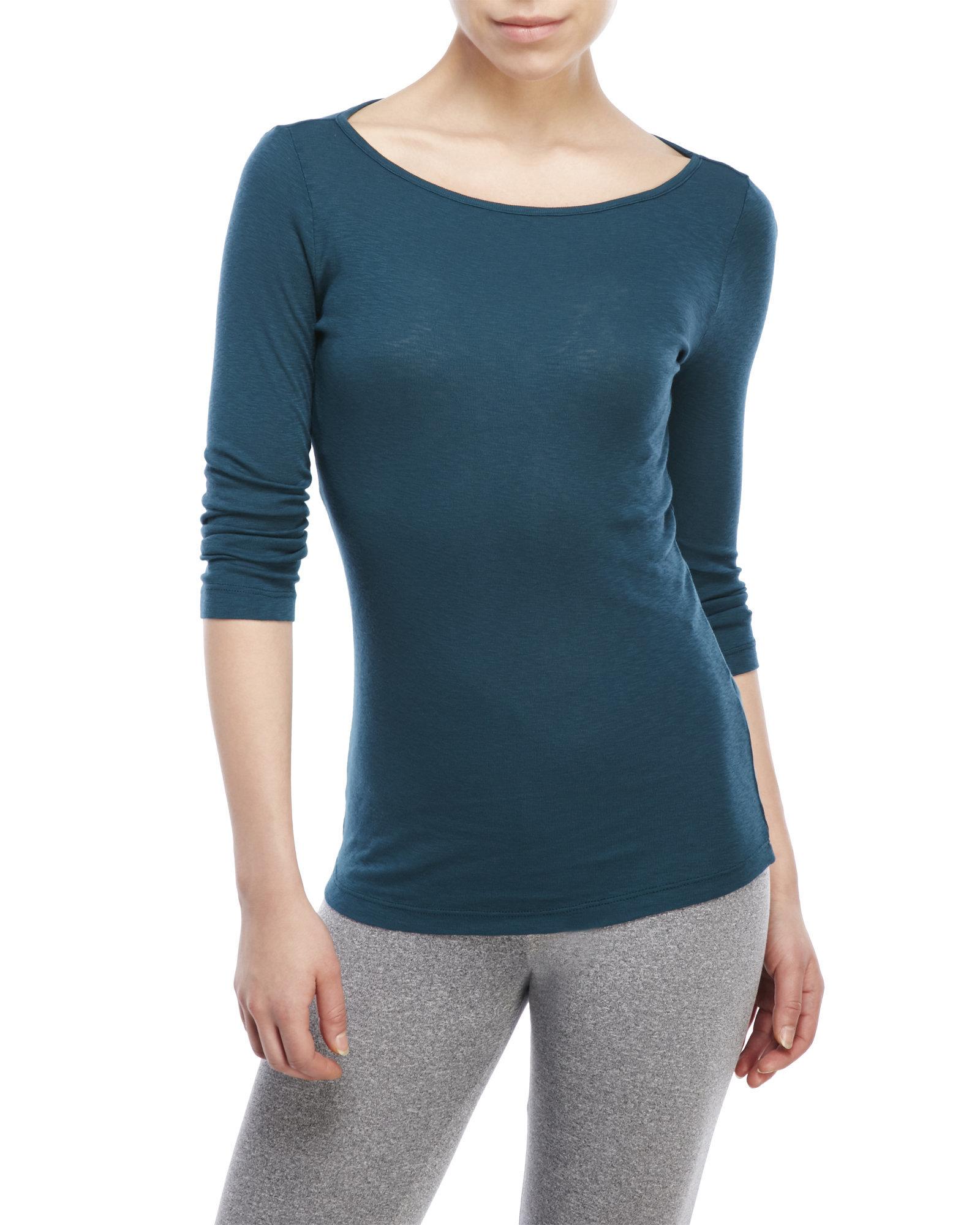 Three dots slub rib british tee in blue lyst for Three dots t shirts