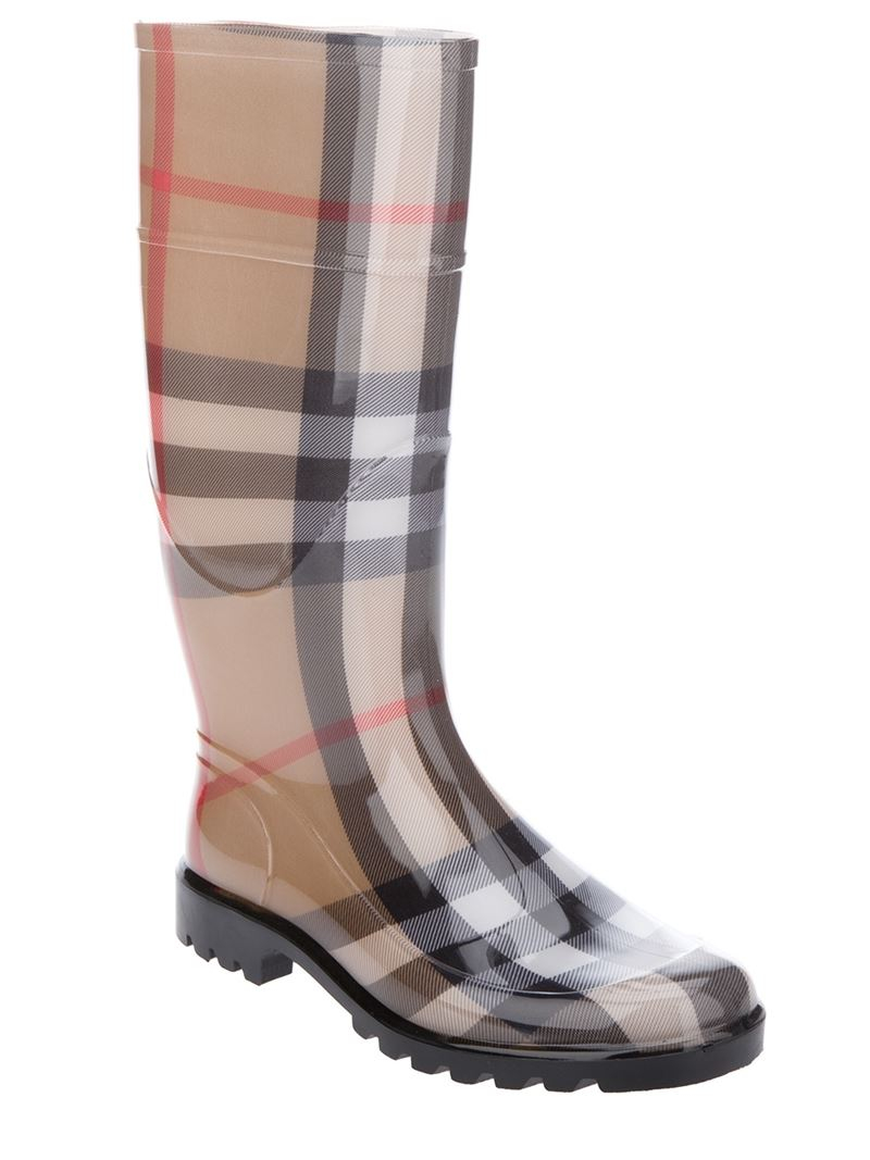 Burberry House Check Rain Boot In Brown Lyst