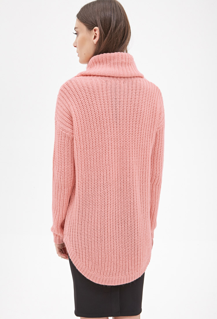 Forever 21 Oversized Turtleneck Sweater In Pink Lyst