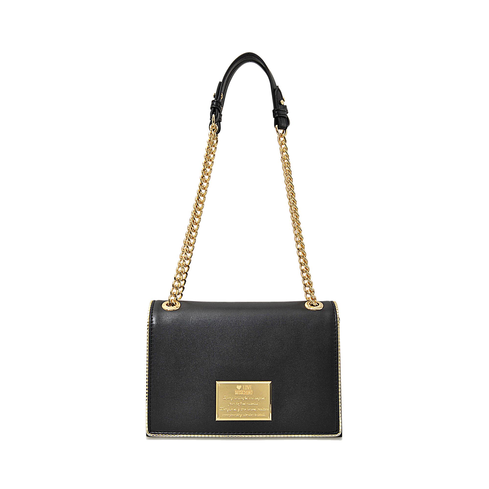 Love moschino I Love Welt Flap Bag in Black