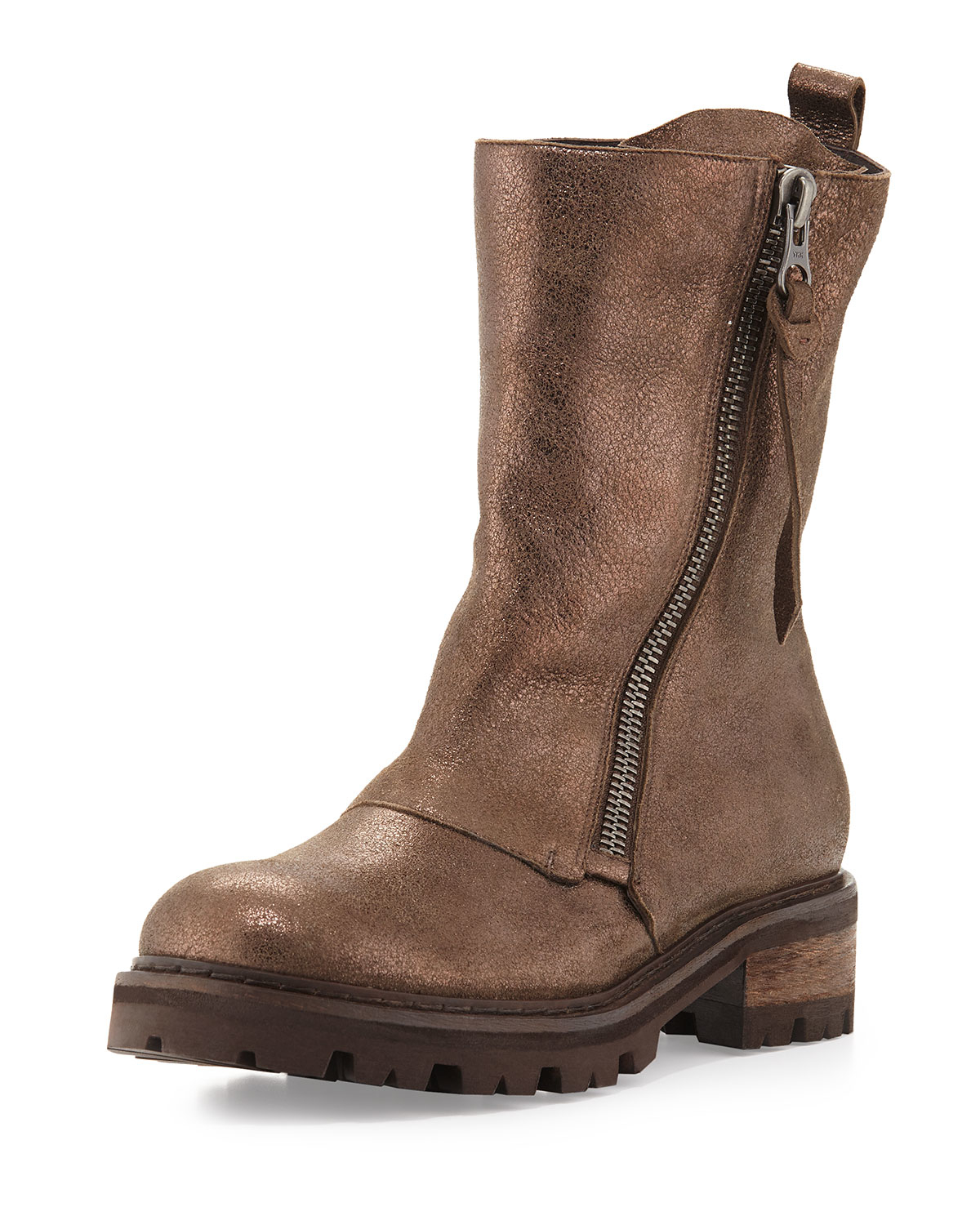 Henry Beguelin Metallic Dusted Leather Moto Boot In Brown