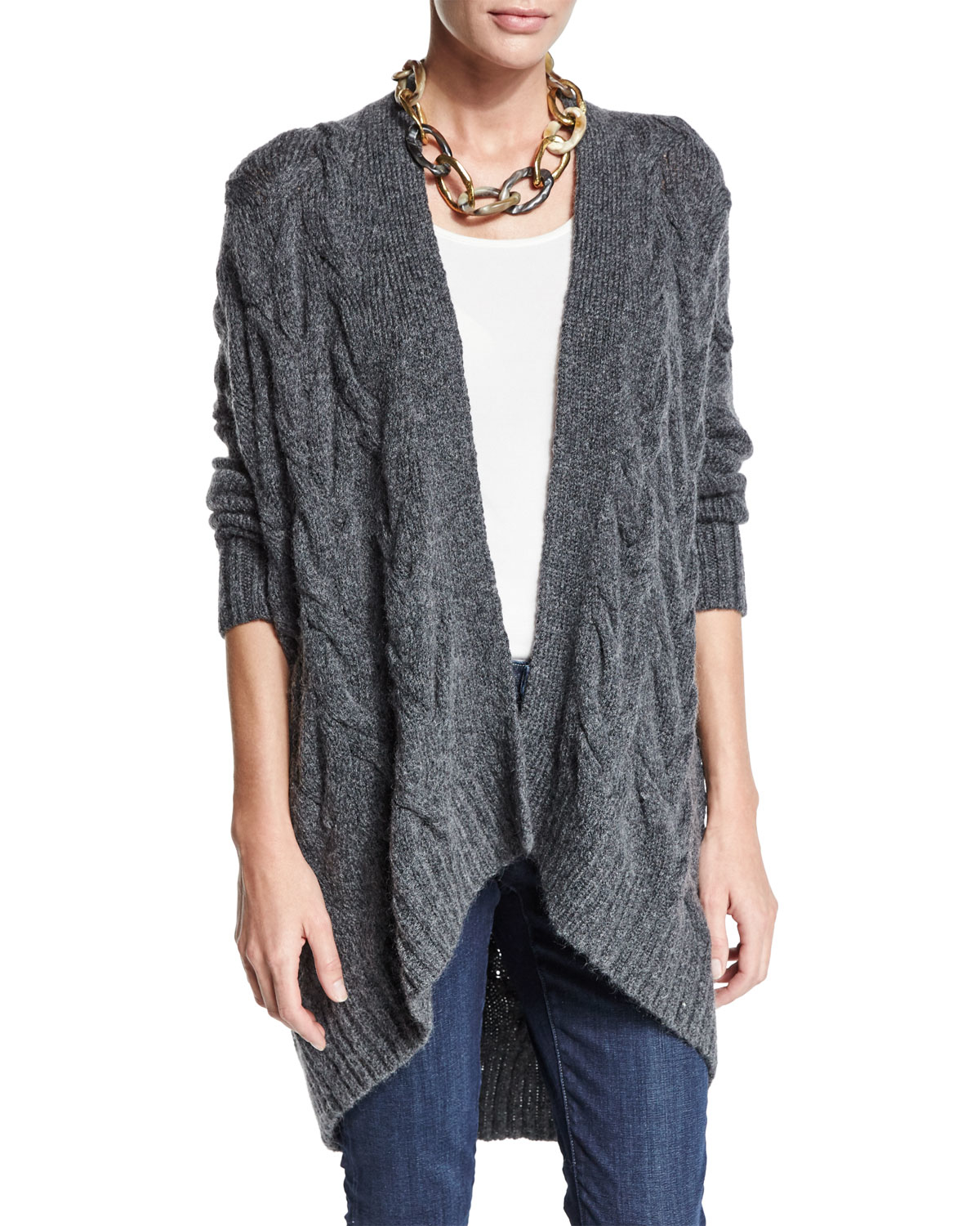 Eileen fisher Fisher Project Cable-knit Cardigan in Gray | Lyst