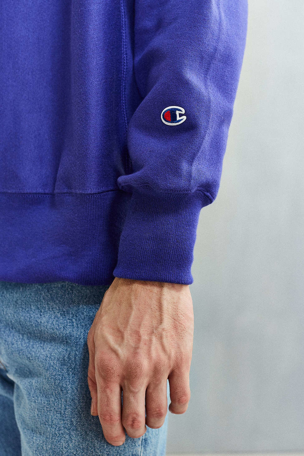 Champion Reverse Weave Crew Neck Sweatshirt In Blue For
