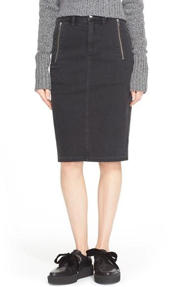 Marc by marc jacobs Zip Denim Pencil Skirt in Black | Lyst
