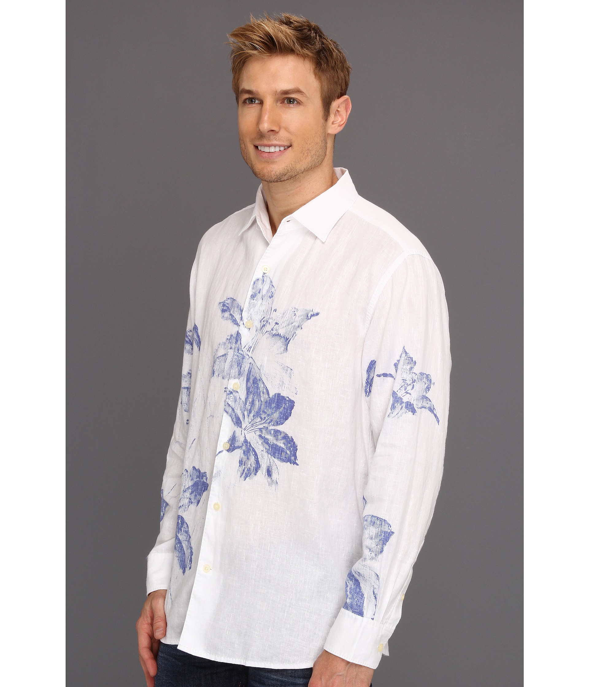 Tommy bahama artafloral ls shirt in white for men lyst for Tommy bahama christmas shirt 2014