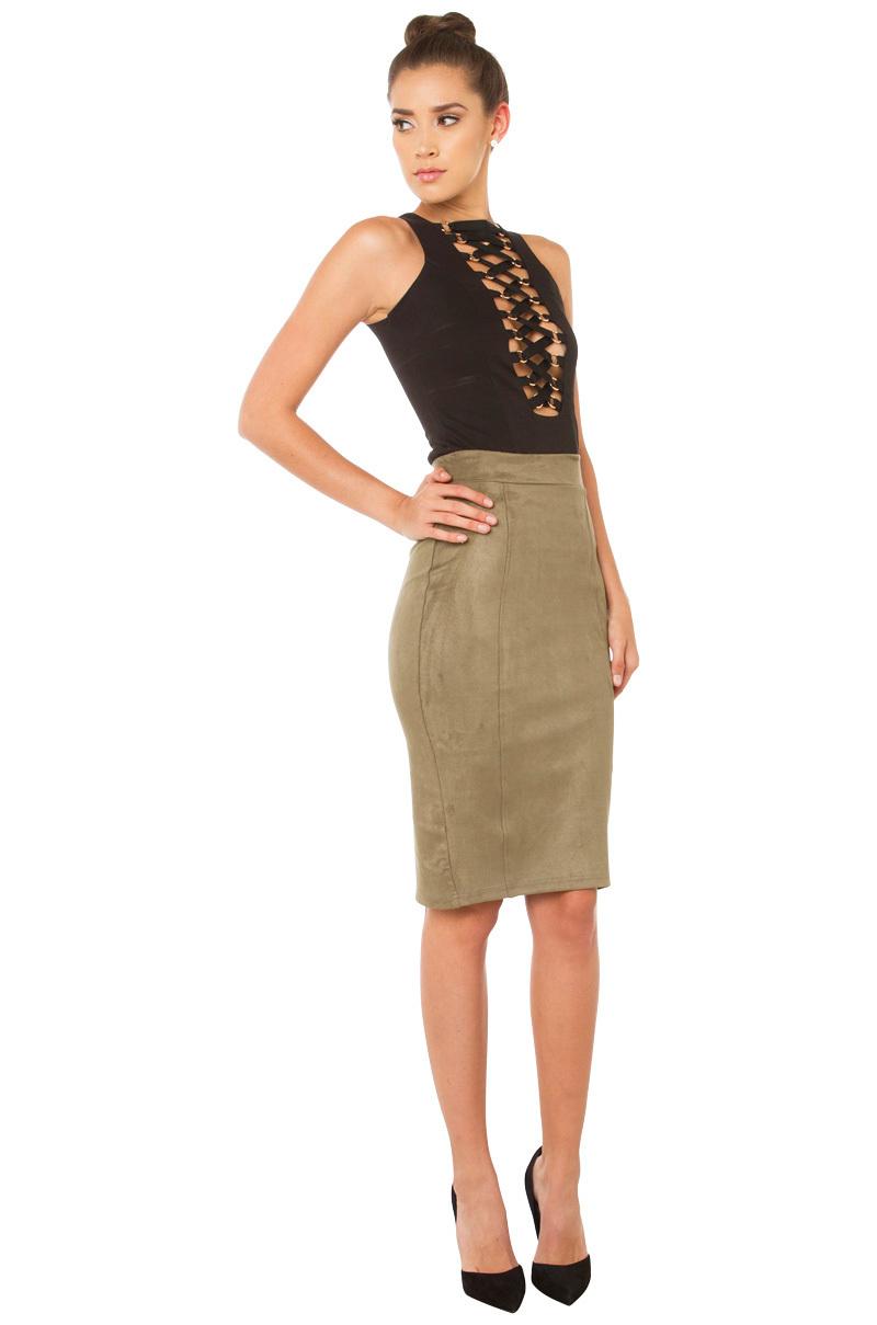 Akira Hideaway Suede Skirt - Olive in Green | Lyst