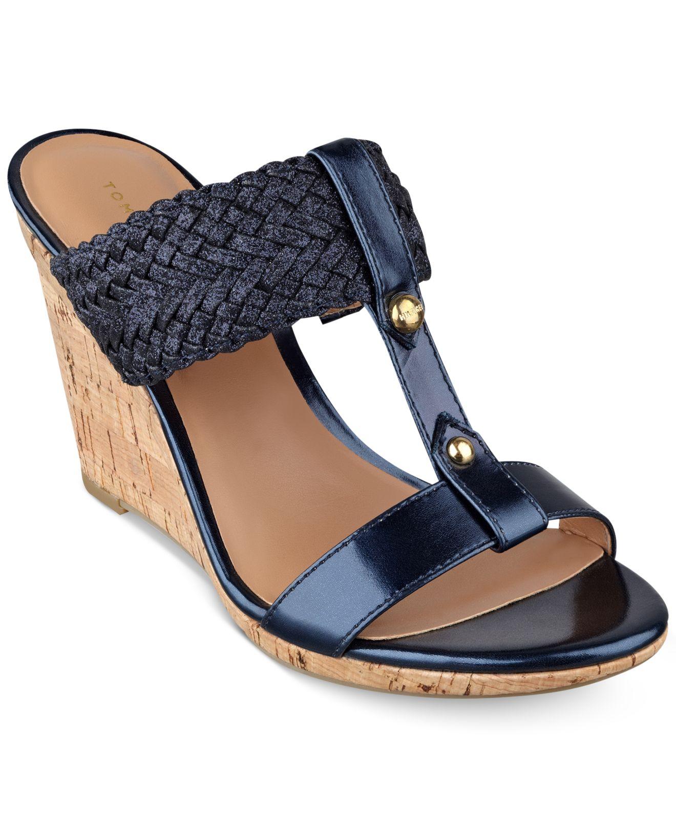 681058478 Lyst - Tommy Hilfiger Women s Eleona Wedge Sandals in Blue
