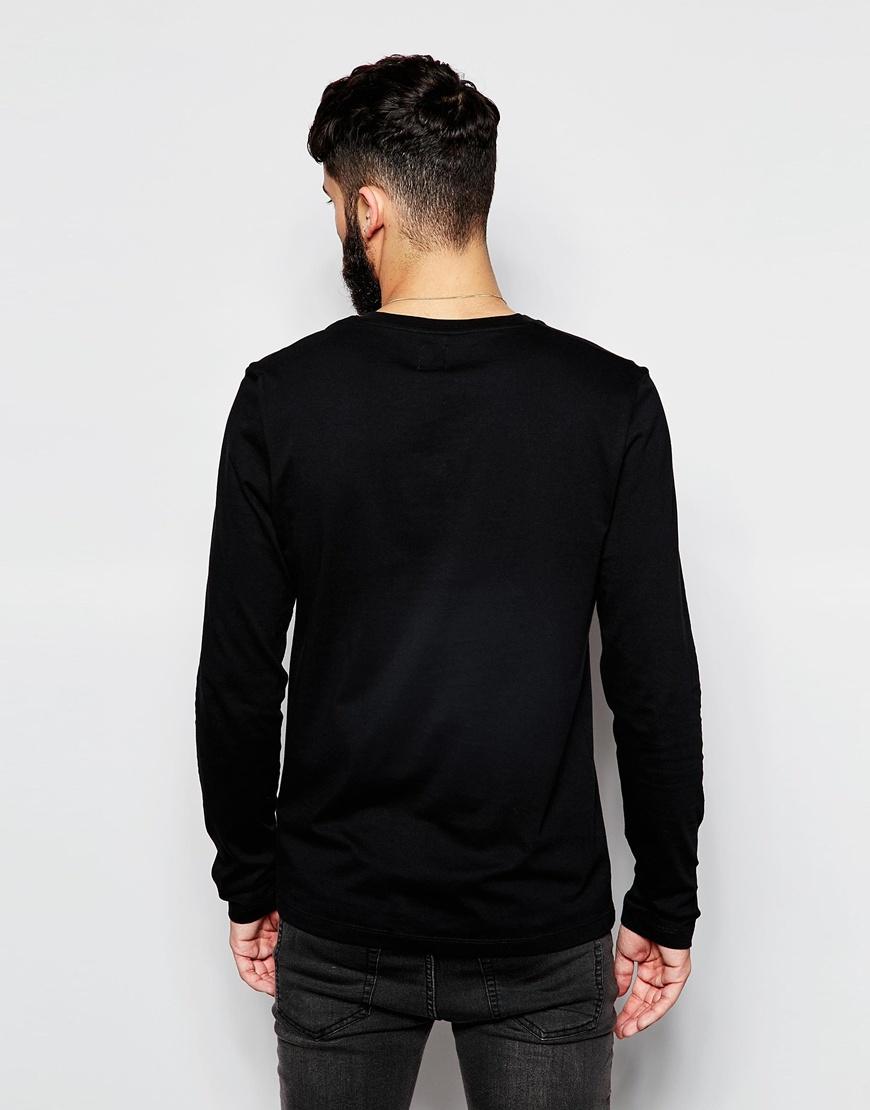Lyst asos long sleeve t shirt with v neck 2 pack white for Long white v neck t shirt
