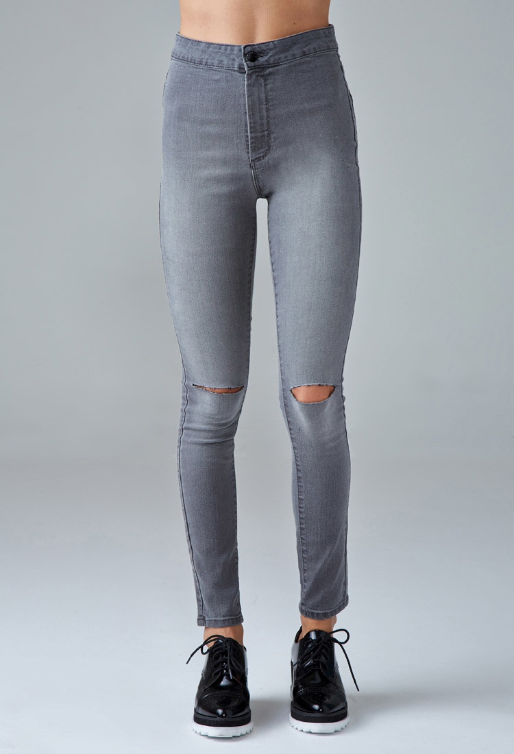 forever 21 high rise super skinny jeans in gray lyst. Black Bedroom Furniture Sets. Home Design Ideas