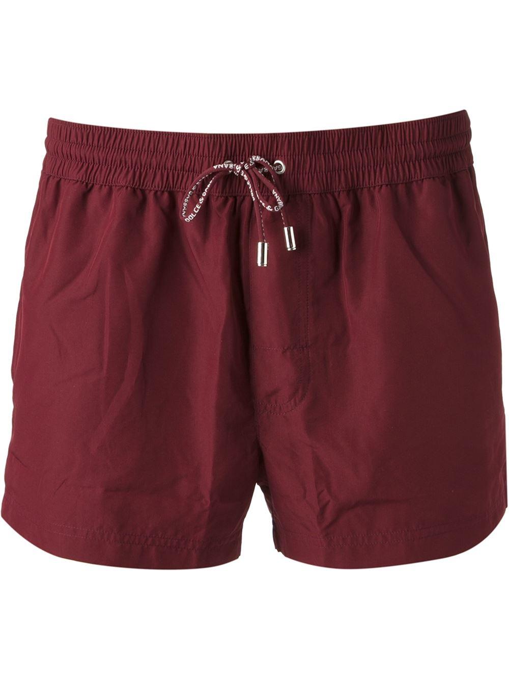 Dolce & Gabbana Drawstring Swim Shorts in Red for Men | Lyst