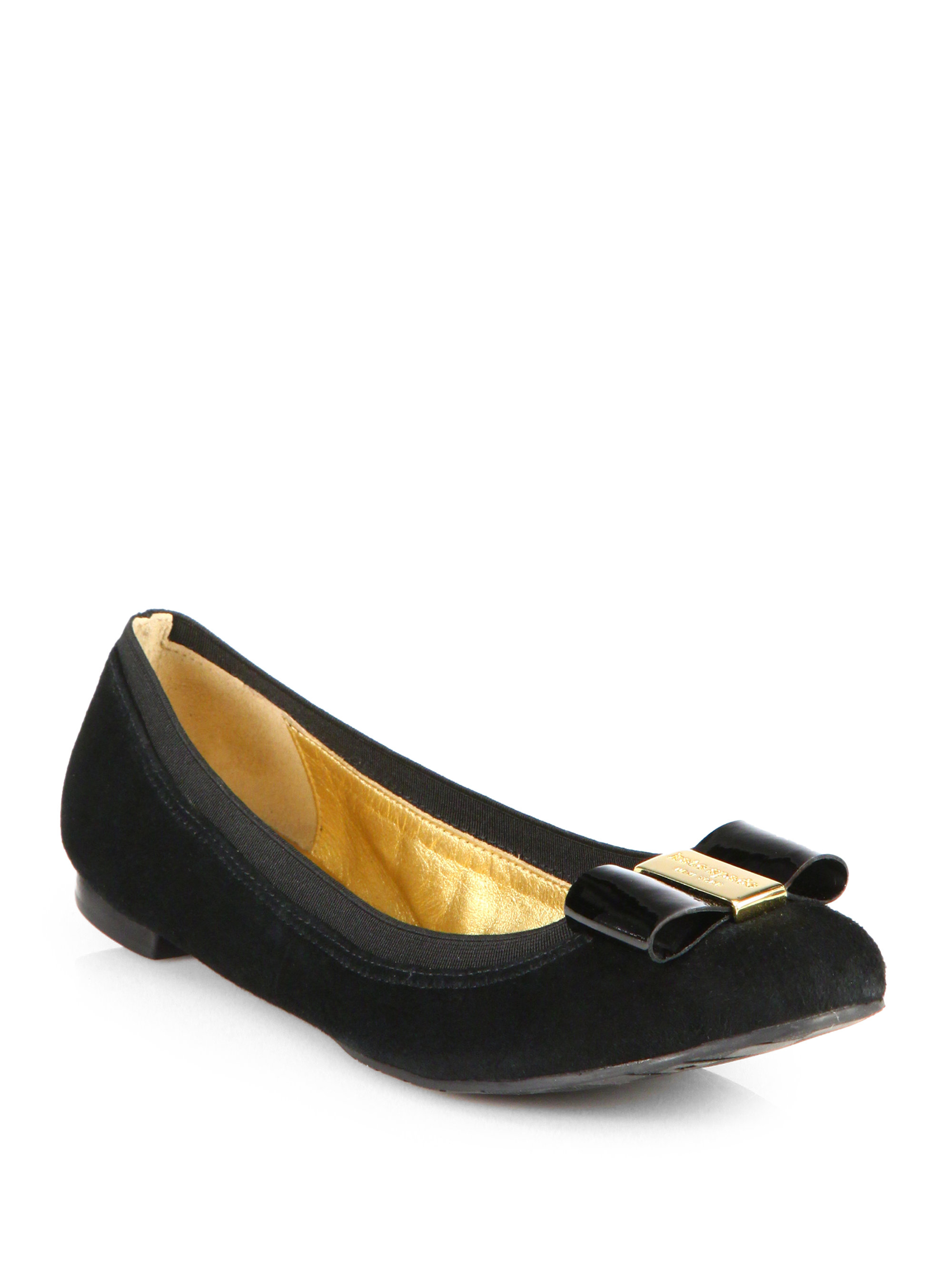 Lyst Kate Spade Tock Suede Bow Ballet Flats In Black