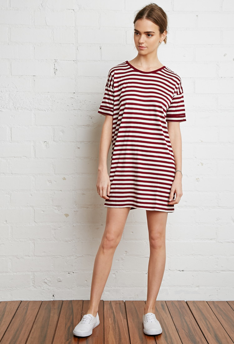 856fe8fcd19 Forever 21 Striped Tunic in Purple - Lyst