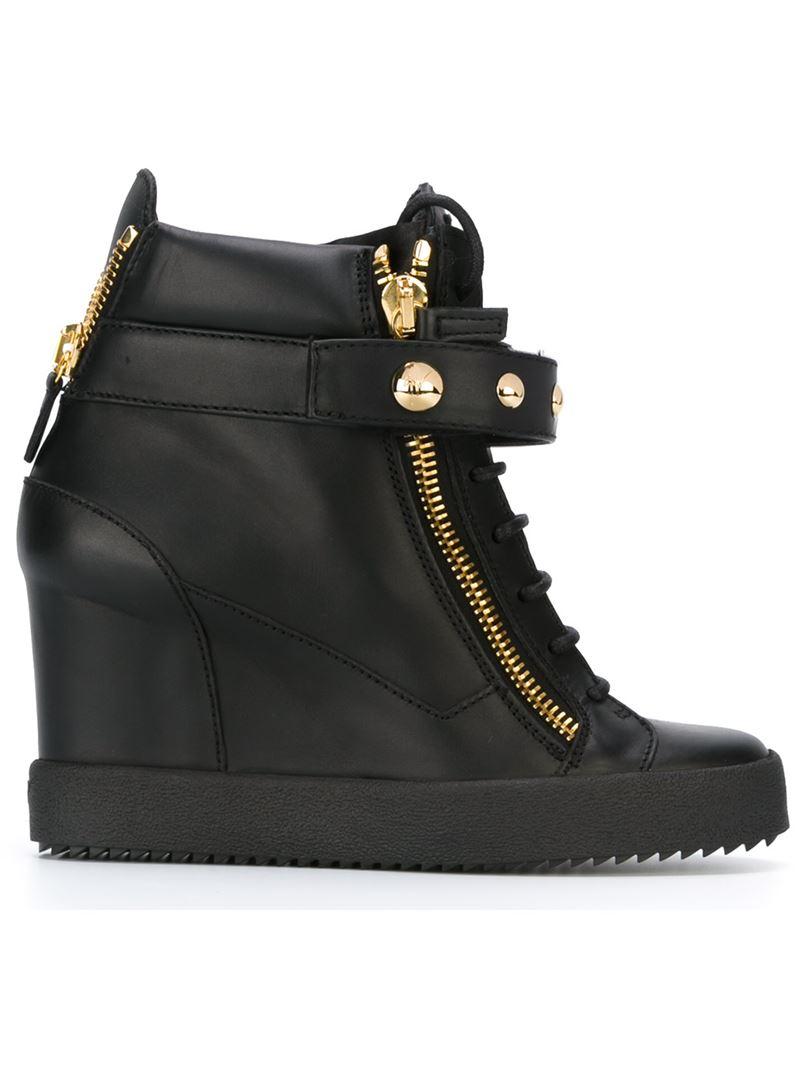 Giuseppe zanotti Wedge Hi-top Sneakers in Black   Lyst