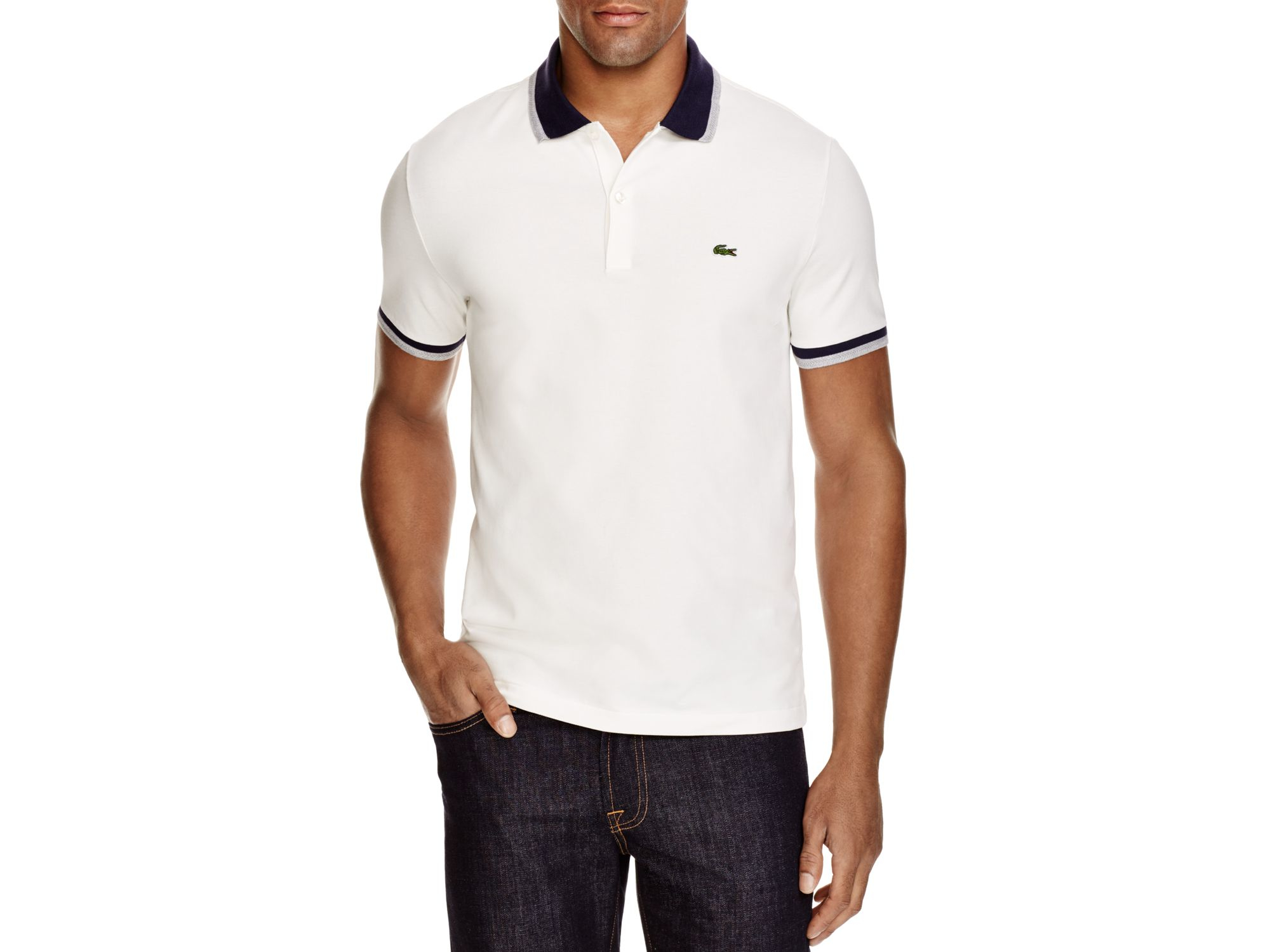lyst lacoste stretch cotton slim fit polo in white for men. Black Bedroom Furniture Sets. Home Design Ideas