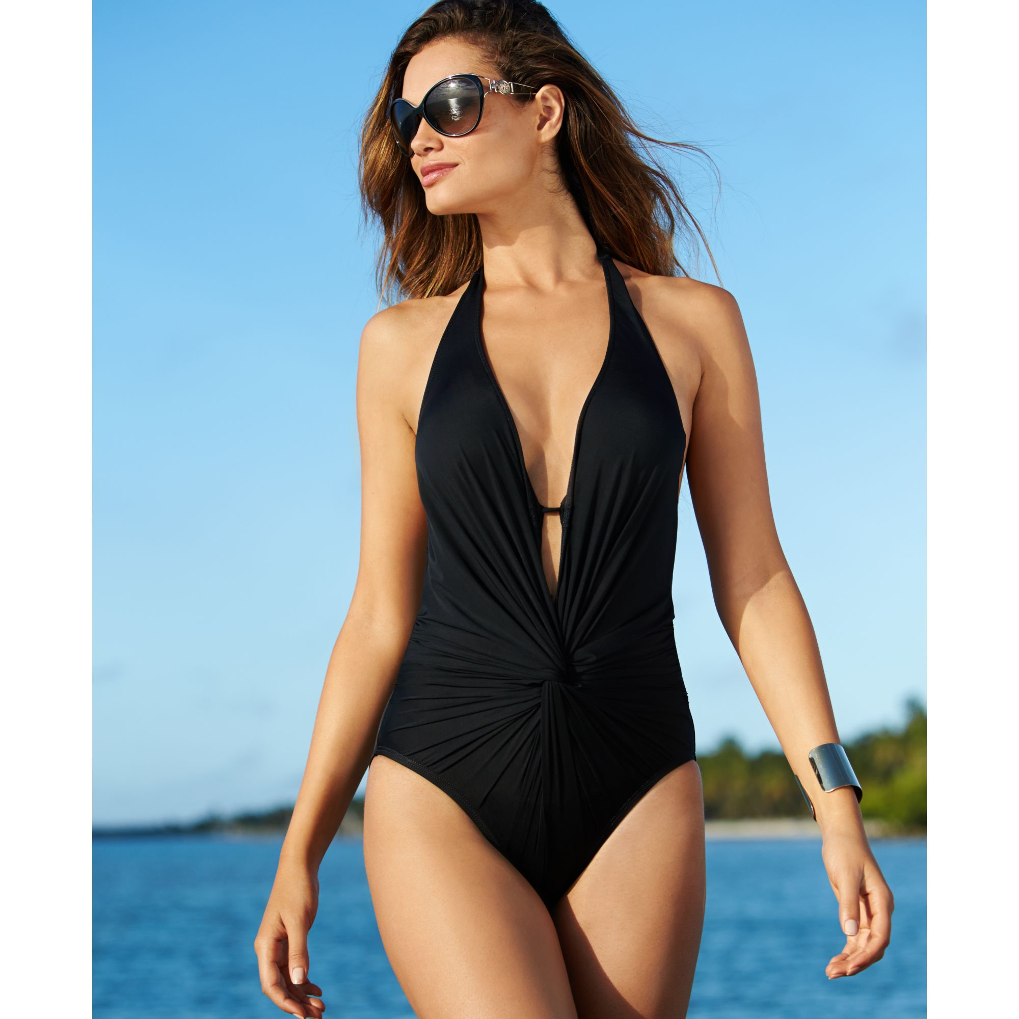 Lyst - Kenneth Cole Twist-front Plunge One-piece Swimsuit ...