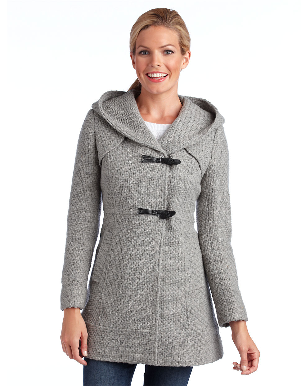 Gallery - Jessica Simpson Hooded Toggle Coat In Gray Lyst