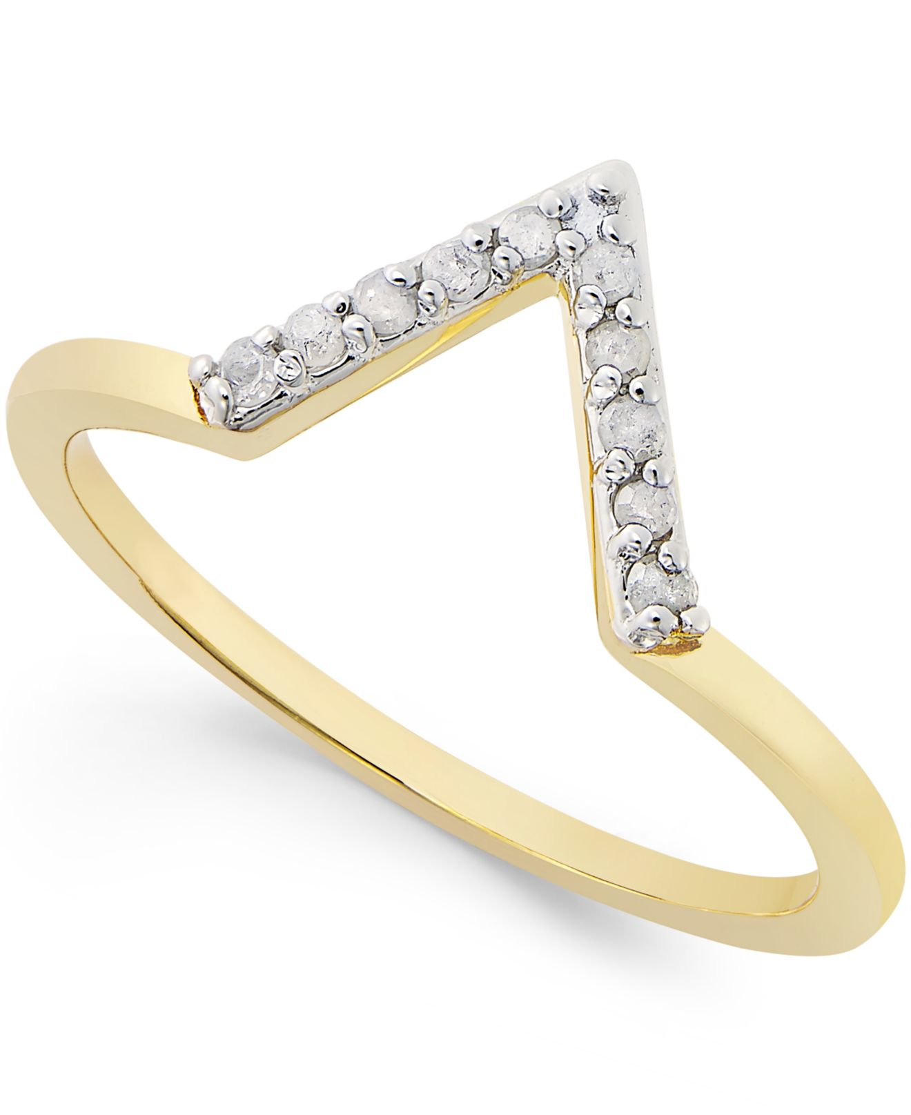 Macy s Diamond V Ring 1 10 Ct T w In Sterling Silver 18k Gold plat