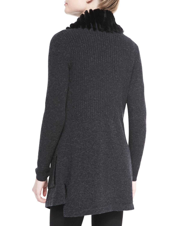 Knitting Cardigan Collar : Lyst theory maritza fur collar knit cardigan in black