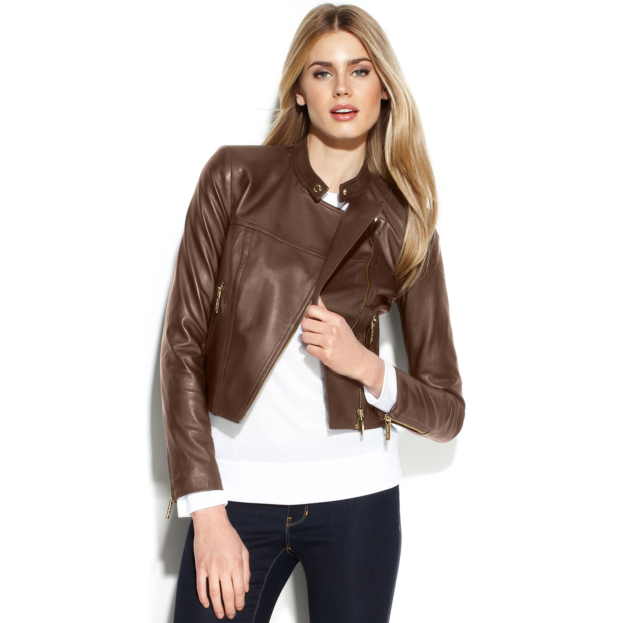 Lyst - Michael Kors Cropped Leather Moto Jacket in Brown