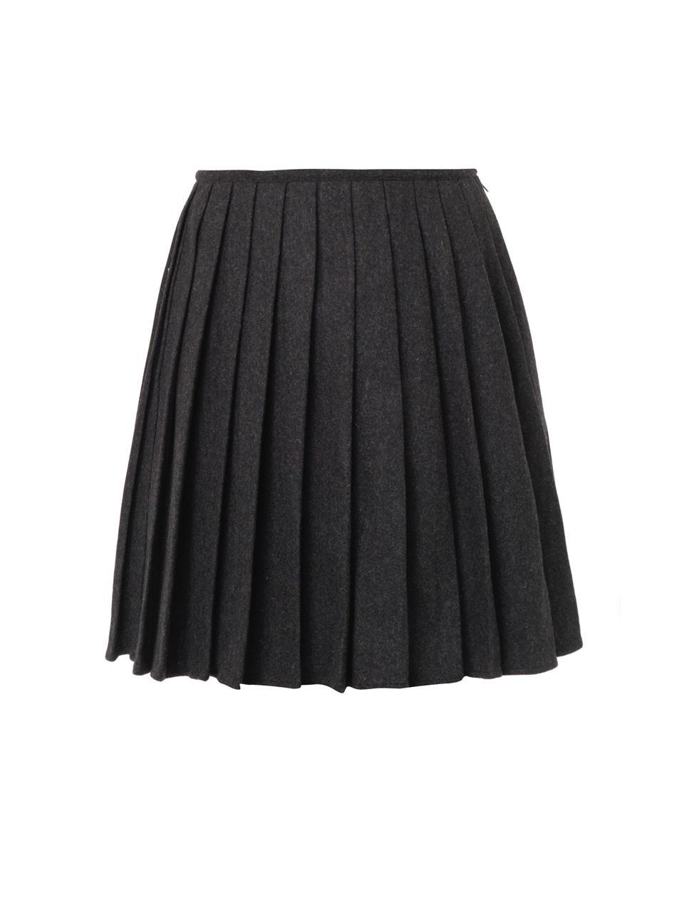 ymc pippa pleated wool skirt in gray lyst