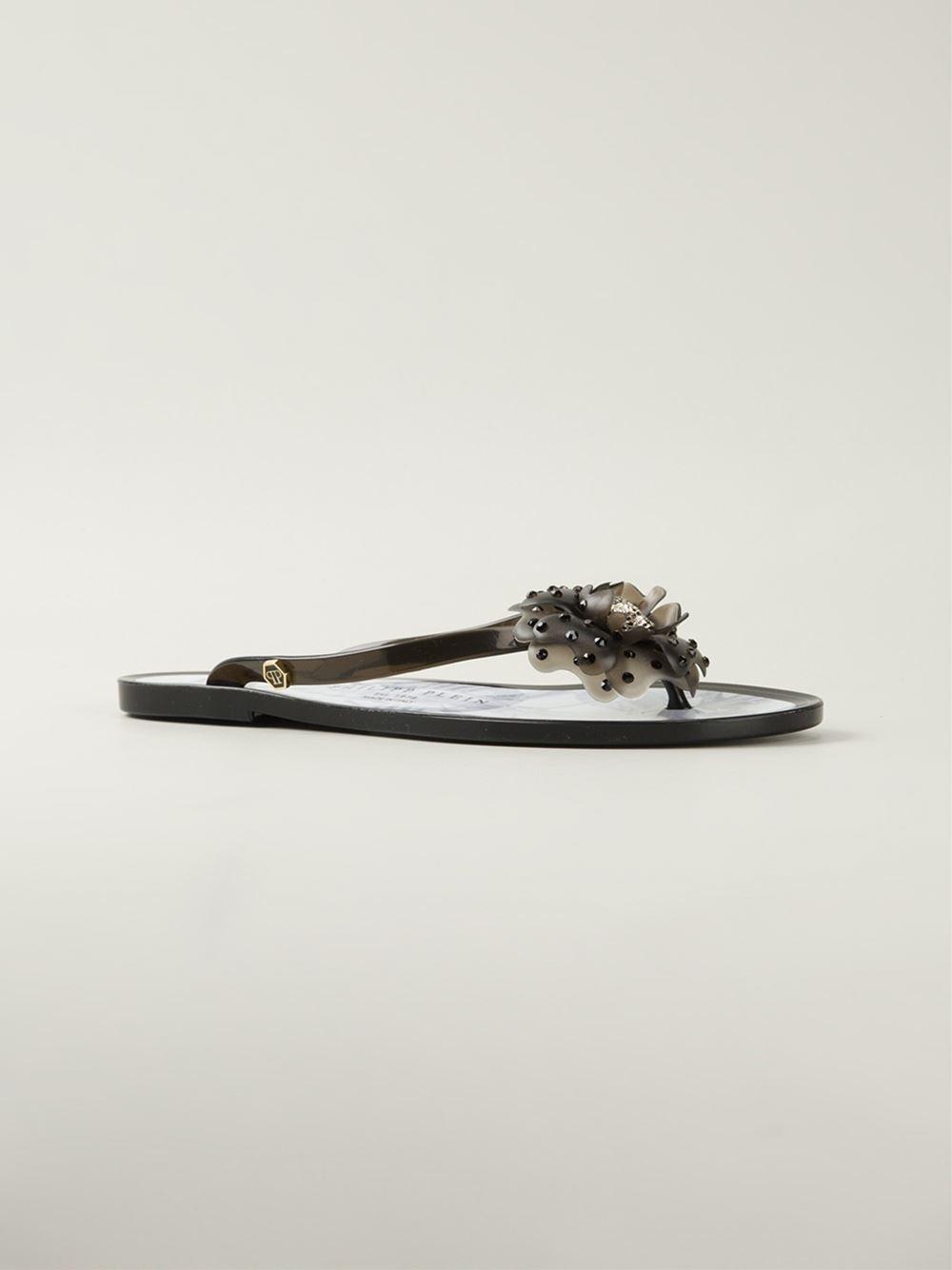 105f7888d36c4 Philipp Plein  Flower  Flip Flops in Black - Lyst