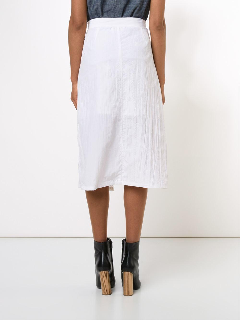 sea embroidered midi skirt in black white lyst