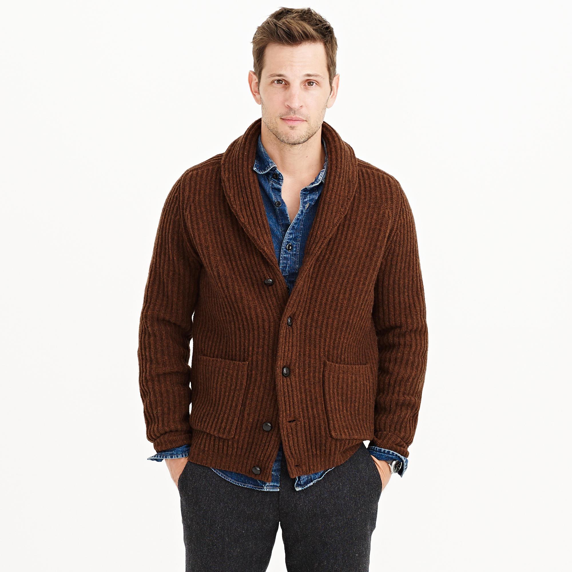 J.crew Lambswool Ribbed Cardigan Sweater in Brown for Men   Lyst