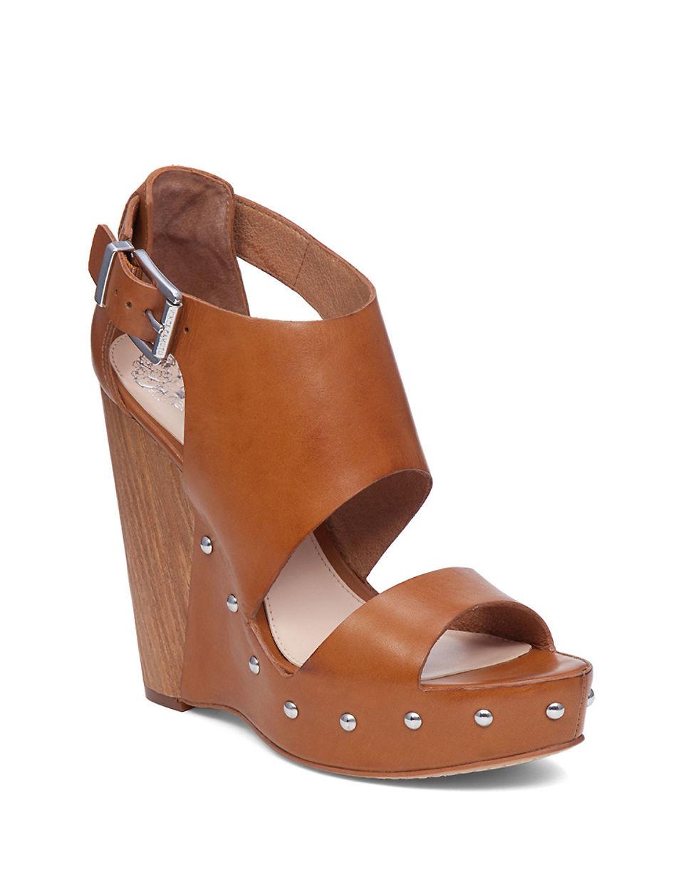 Vince Camuto Matta Leather Platform Sandals In Brown Lyst
