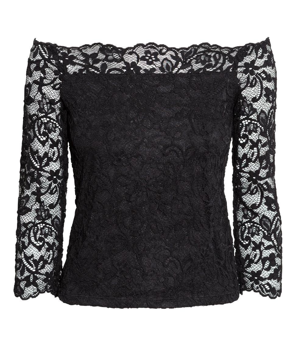 47c724528b3d5e H&M Off-the-shoulder Lace Top in Black - Lyst