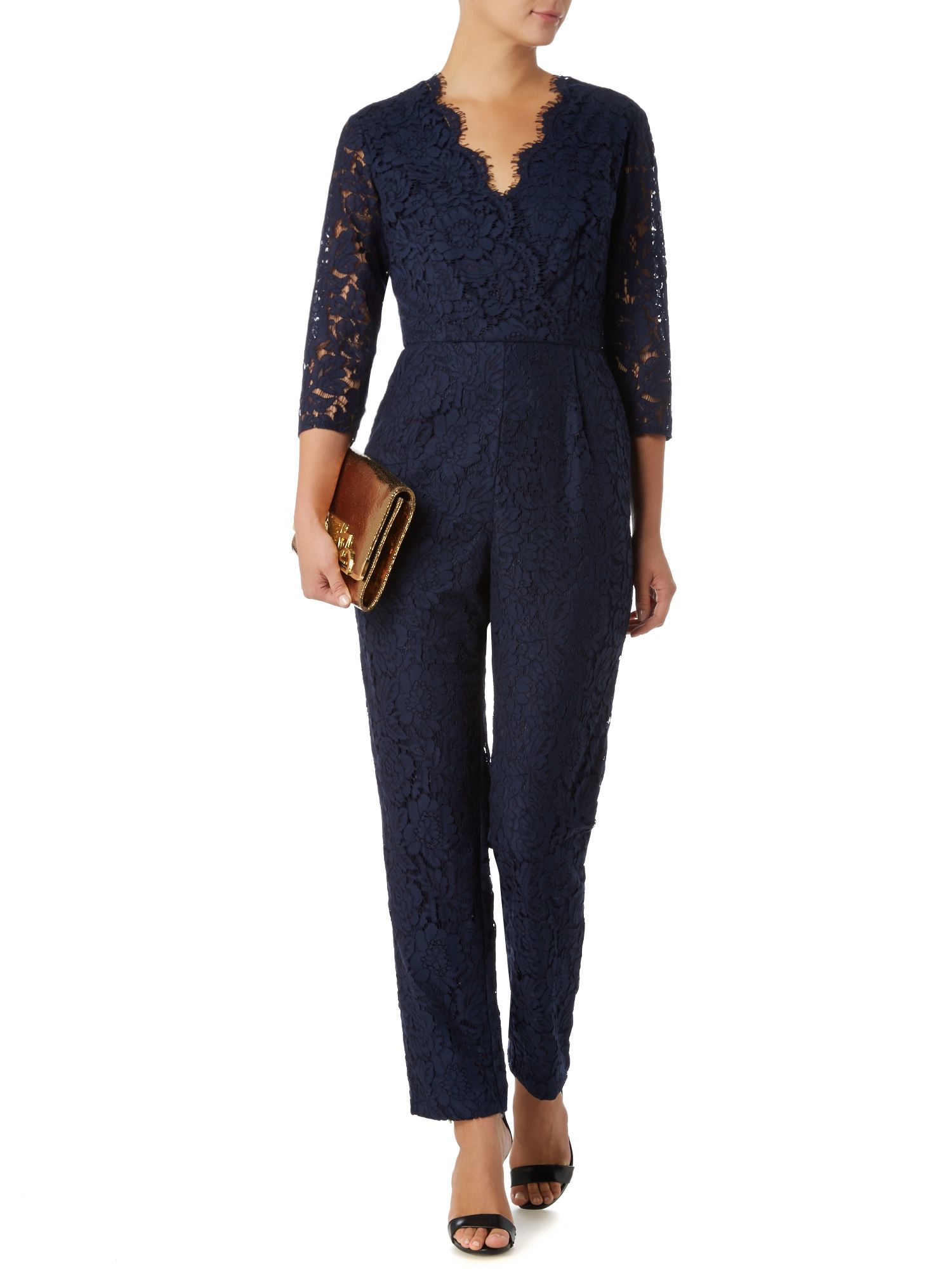 Scalloped Neckline Lace Panel Navy Jumpsuit on sale only US$ now, buy cheap Scalloped Neckline Lace Panel Navy Jumpsuit at bestsupsm5.cf
