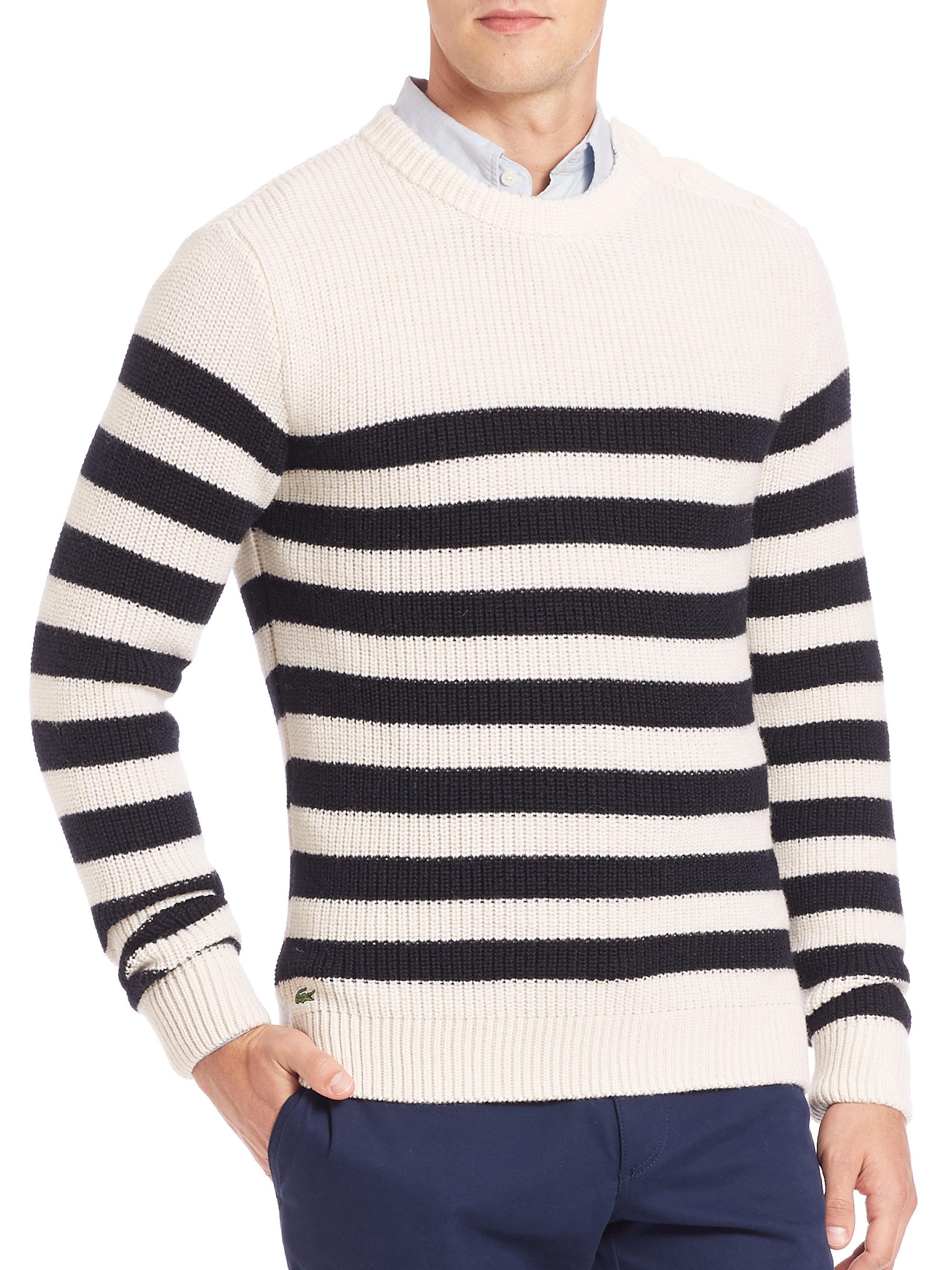 78fb8dba0aa6 Lyst - Lacoste Fancy Rib Striped Sweater in Purple for Men
