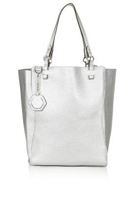 TOPSHOP Hex Tote Bag in Silver (Metallic)