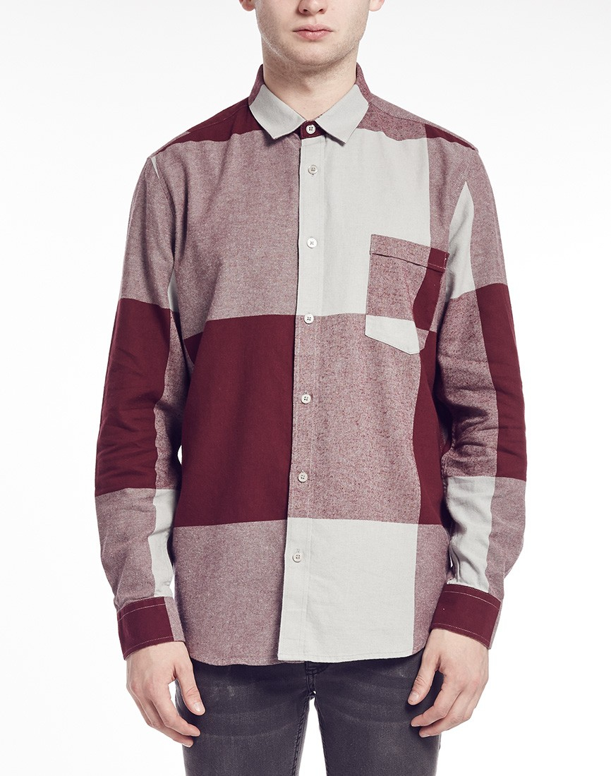 Cheap Monday Shirt In Check Flannel In Red For Men Lyst