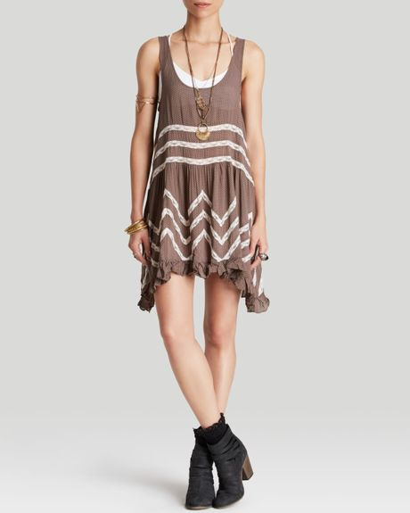 Free People Slip Dress Voile Trapeze In Brown Sequoia