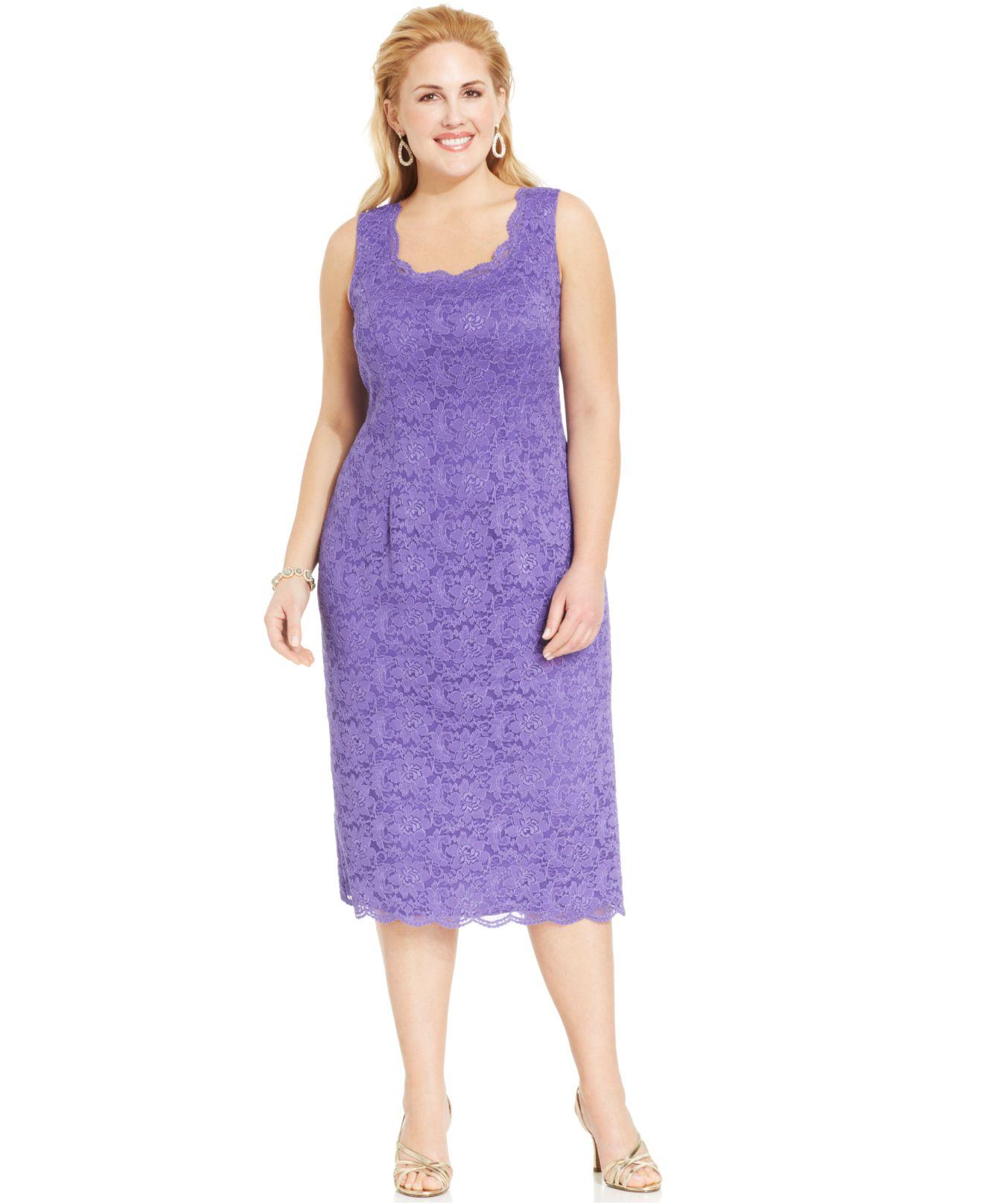 Alex Evenings Purple Plus Size Sequin Lace Dress And Jacket
