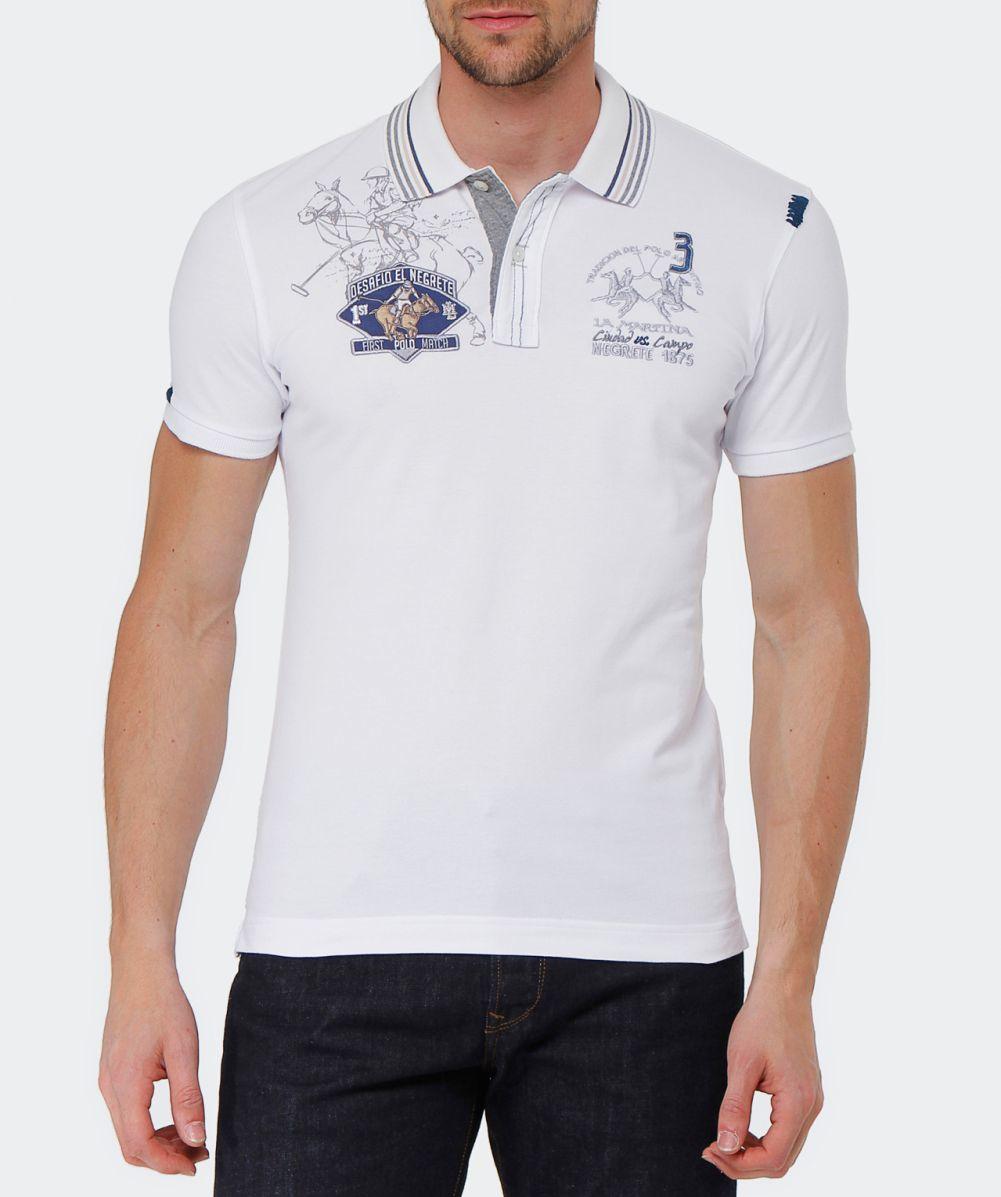lyst la martina slim fit logo polo shirt in white for men. Black Bedroom Furniture Sets. Home Design Ideas