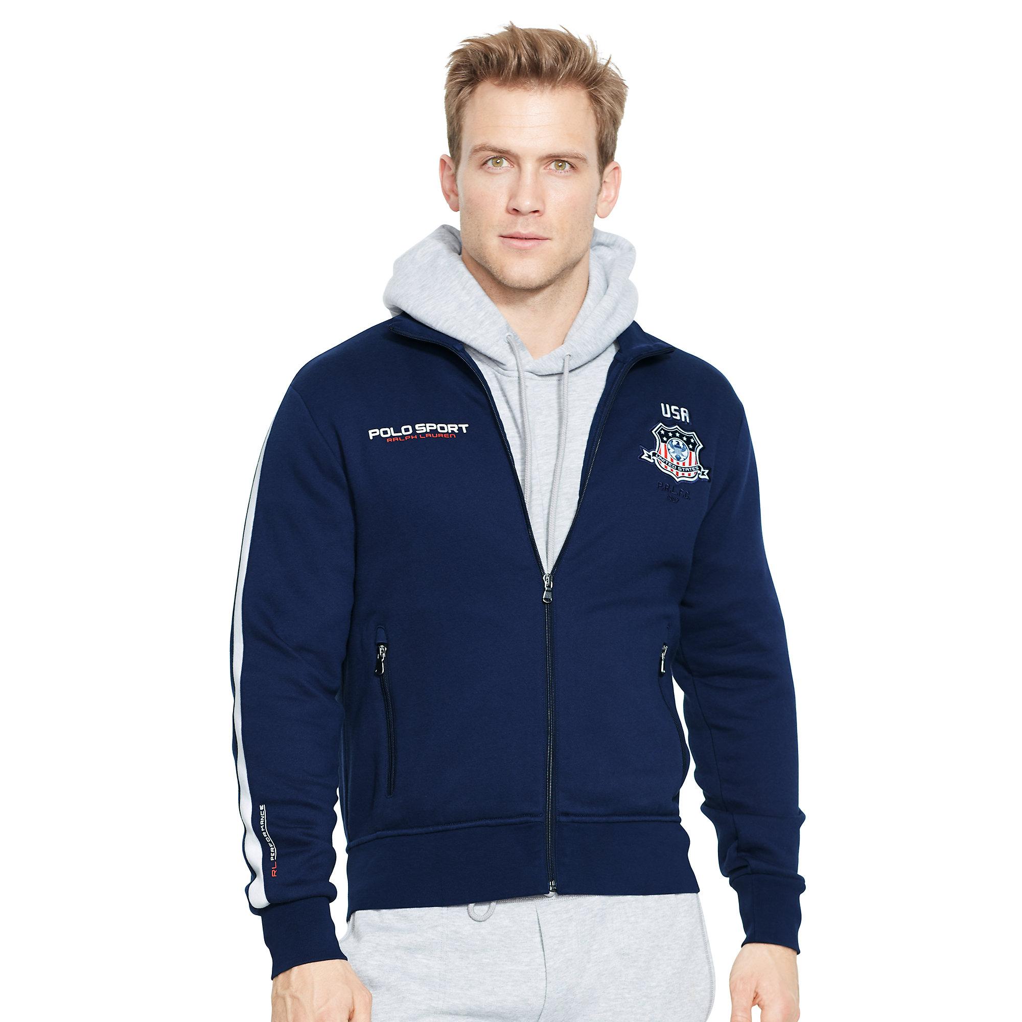 Ralph lauren Usa Fleece Jacket in Blue for Men | Lyst