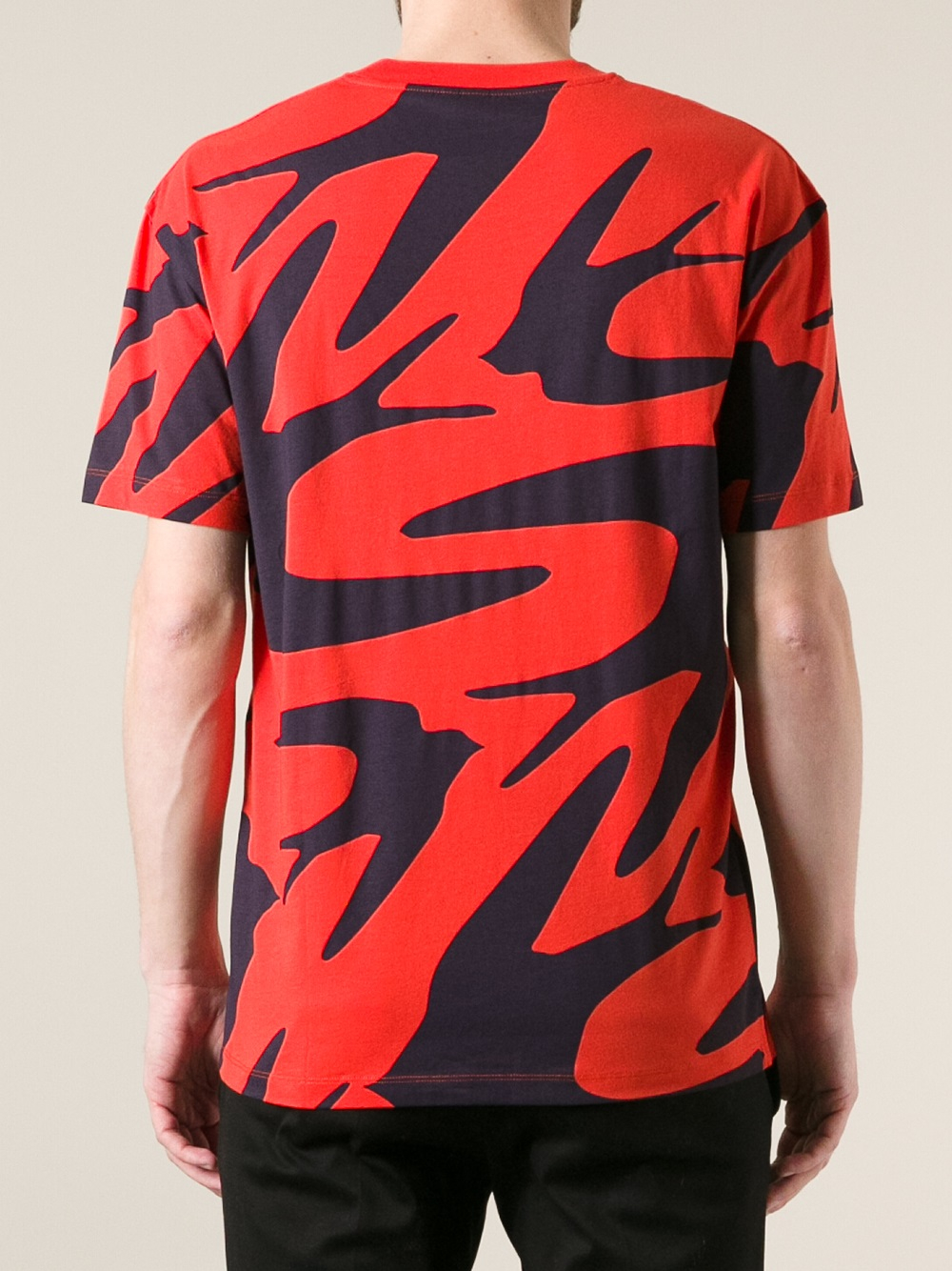 McQ Swallow Print Tshirt in Yellow & Orange (Red) for Men