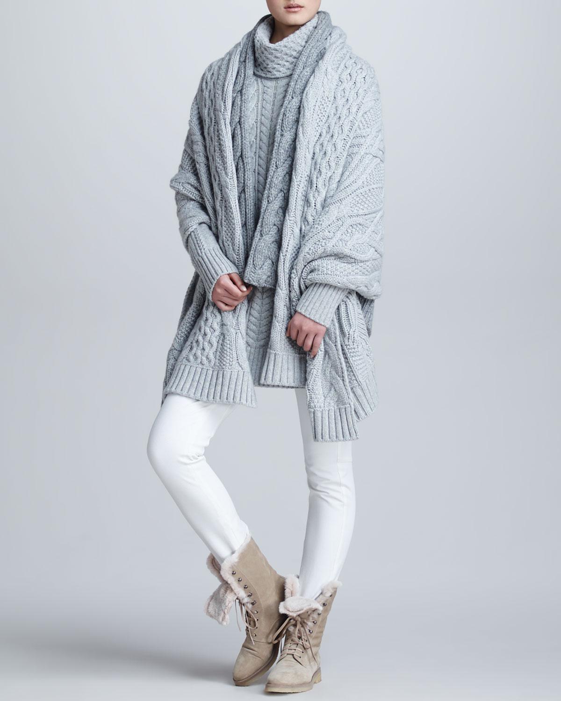 Loro piana Cableknit Cashmere Turtleneck Tunic Sweater in Gray | Lyst