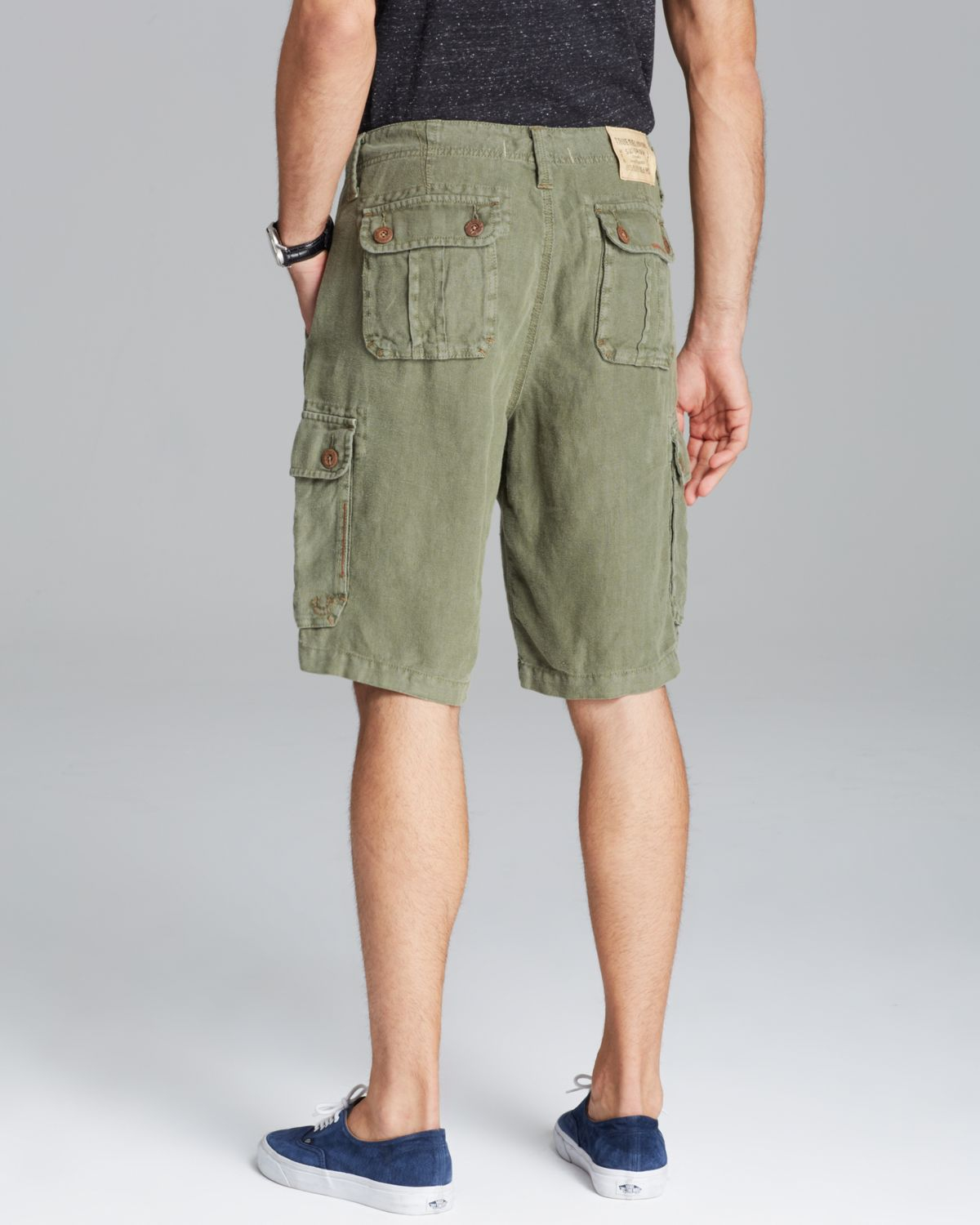 True Religion Recon Linen Cargo Shorts In Green For Men Lyst